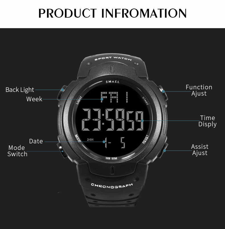 Casual Men's Simple Digital Dial Calmly Strap Waterproof Sports Outdoor sport watch Electronic digital Watch gifts Men's watch