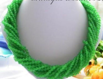 Hot sale Free Shipping>>9 strands 20 inches 4mm Natural Green Jade Round Beads Necklace AA