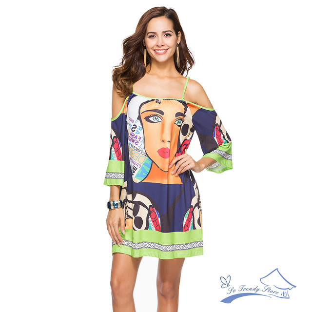 2018 New Fashion Women Beach Sexy Sling Dress Summer Printed Milk Silk Large Size Dress Bohemian