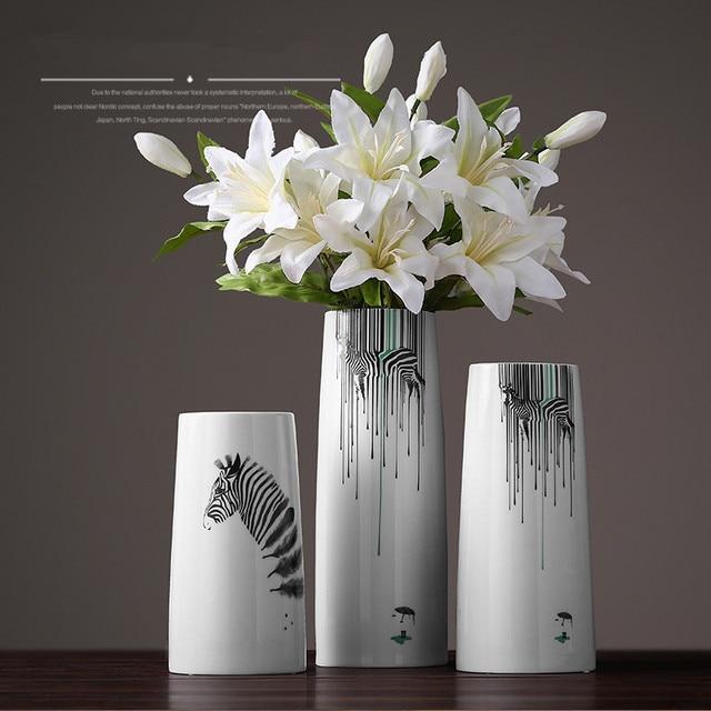 Nordic Style Modern Ceramic Vase Zebra Print Big Size Tabletop Vase