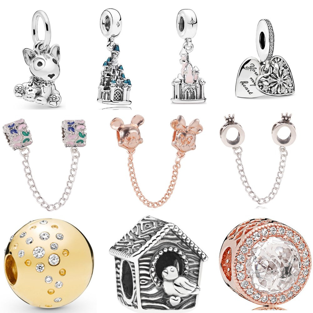 Ranqin New Pendant DIY Fit Pandora Bracelet Europe Jewelry Original Charm Girl Bead Personality Dog Castle Mickey Hedgehog