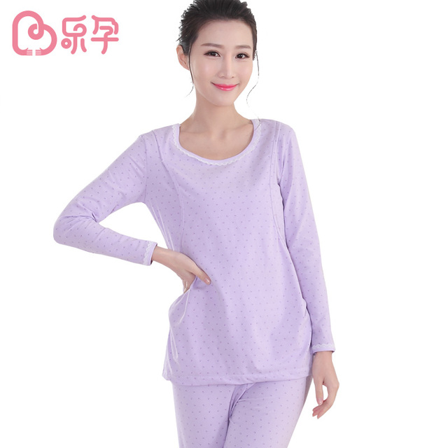 Mummy Nursing Maternity Set For Autumn Pajama Sets Breastfeeding Cotton Long Sleeve Solid Tops Pregnancy Women Clothes