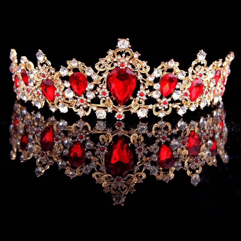 Big Baroque Red Crown Wedding Princess Queen Green Blue Crystal Gold Crown Bridal Hair Accessories Head Jewelry diademas diademe