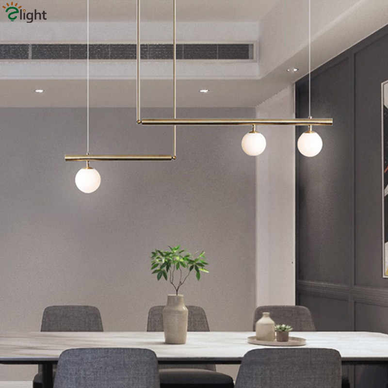 Nordic Modern Led E14 Straight Chandelier For Dining Room Brush Gold Hanging Chandelier Lighting Lustre Indoor Light Lamparas