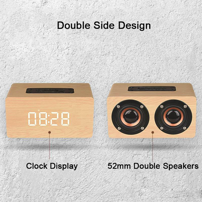 Wood Bluetooth Speaker Wireless Portable Sound Box With Clock Display Stereo Hifi Loudspeaker TF MP3 Player HD Mic For Phone