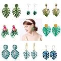 Женские акриловые серьги-кольца SOHOT, Новые разноцветные хипстерские серьги в форме листьев монстеры, для праздника, пляжа