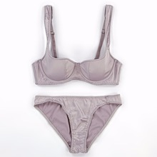 Satin smooth women sexy bra brief set 1/2 cup thin cotton cup fashion lady brassiere sets push up euramerican lingerie suit