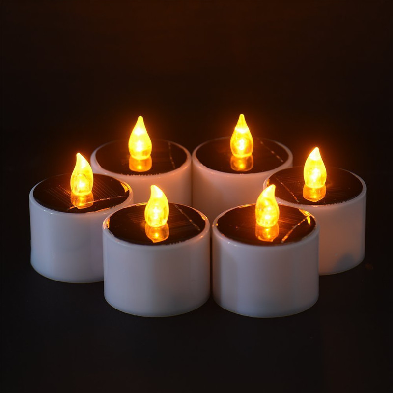 LumiParty 6pcs Electronic Solar Power LED Lamp Nightlight Amber Flickering Flameless Candles Light Outdoor Indoor Decoration