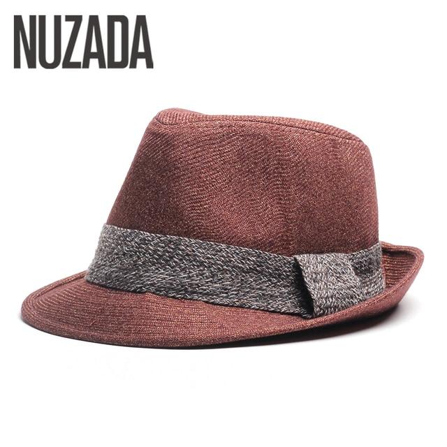 Marca NUZADA Cap Uomini Donne Fedore Top Cappello di Jazz di Qualità Retro  Inghilterra Cotone di 65d5f0a92fc0