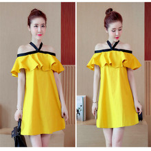 2017 summer Dresses for Pregnant Women Off the Shoulder Hang neck Maternity Clothing With bow loose