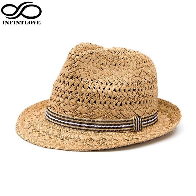 LUCKYLIANJI Summer Fashion Handmade Women s Beach Boho Fedora Straw Hat Sun  Hat Sunhat Men Jazz Hat Gangster Cap (One Size 58cm) 3c7197a30ad7