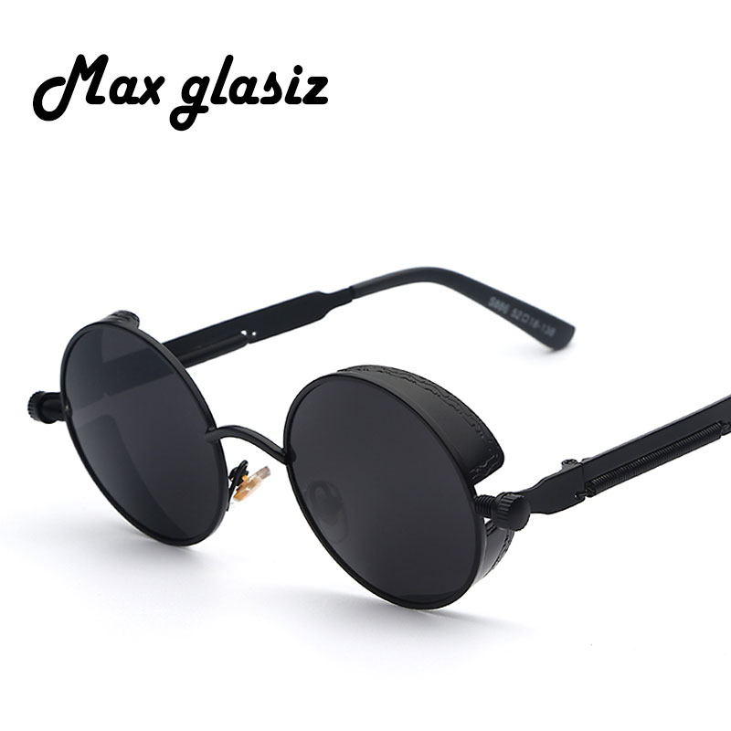 Maxglasiz Brand new 2018 Mirror Lens Round Glasses Goggles Steampunk Sunglasses Vintage Retro For men and women Hisper Eyewear retro round 2 in 1 plain glass flip resin lens sunglasses amber brown