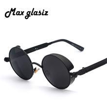 6b206df413 Maxglasiz nuevo espejo 2018 ronda Gafas gafas Steampunk Gafas de sol Retro  Para hombres y mujeres Hipster gafas