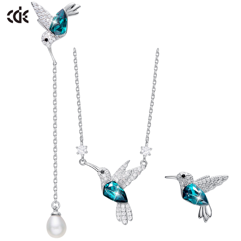 CDE Jewellery Set Silver Embellished with crystals from Swarovski 925 Sterling Silver Necklace Earrings Set Animal