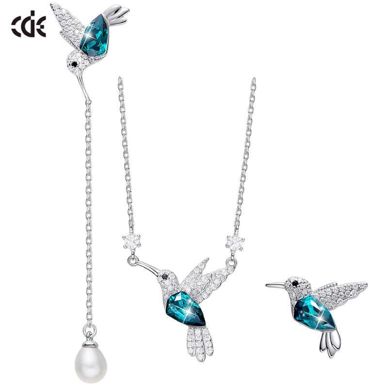 CDE Schmuck Set Silber Verziert mit kristallen von Swarovski 925 Sterling Silber Halskette Ohrringe Set Tier Schmuck Frauen