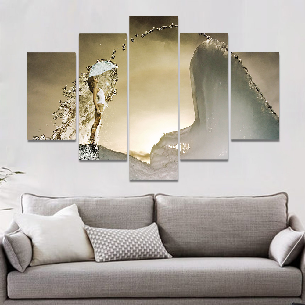 Unframed Canvas Painting Girl Sheltering From Water Transparent Umbrella Prints Wall Picture For Living Room Wall Art Decoration