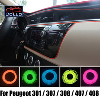 9 Meter EL Wire For Peugeot 301 / 307 / 308 / 407 / 408 / Car Interior Romantic Atmosphere Lamp / Car Decoration Cold Light Line
