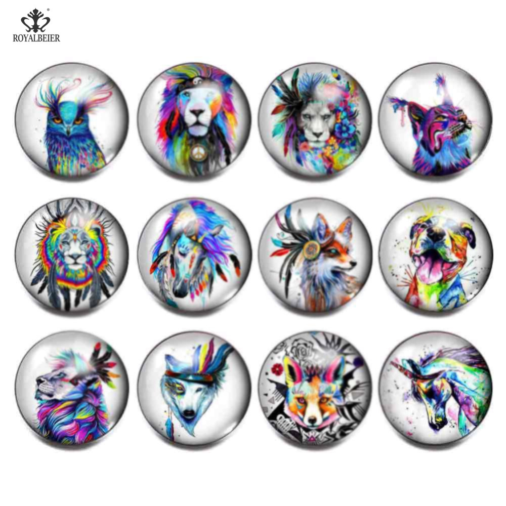 12pcs/lot New Arrive Pretty Doodle Multi Colors 18mm Glass Beads Charms Print Glass Cabochon Fit DIY Snap Button Jewelry KZ1122