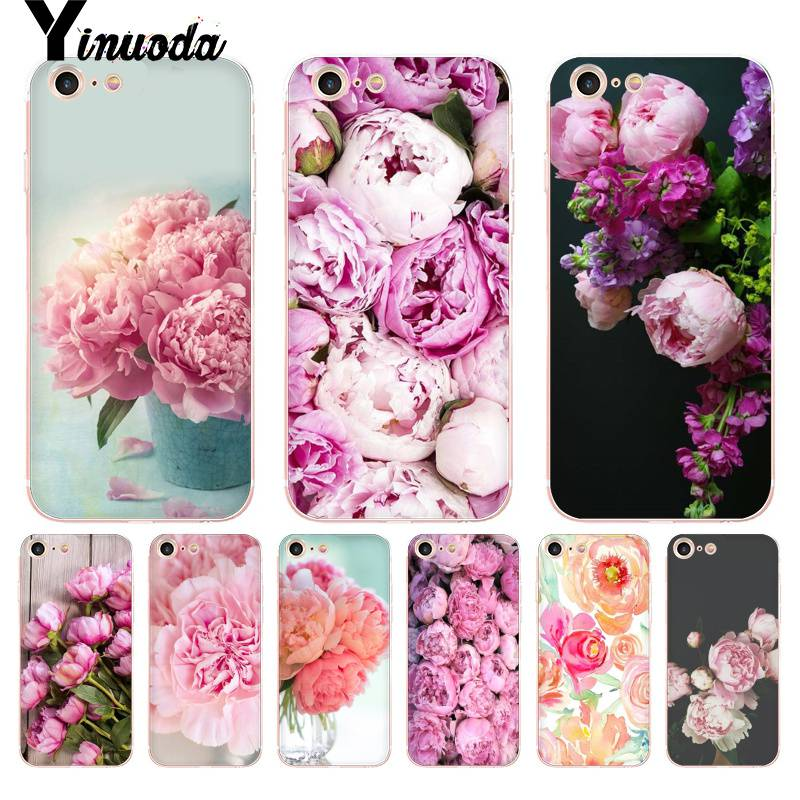 Yinuoda Für <font><b>iphone</b></font> 7 <font><b>6</b></font> X Fall Blume Rosa Pfingstrosen Pfingstrose Coque Shell Telefon Fall für <font><b>iphone</b></font> 8 7 <font><b>6</b></font> <font><b>6</b></font> s plus X 10 5 5 s SE 5C XS XR image