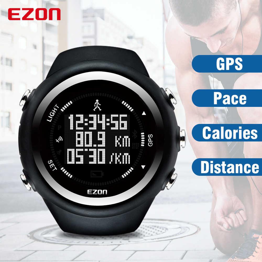 89a4a0c4f712 EZON T031 relojes de hombres de la marca de lujo de temporización GPS  deporte contador de