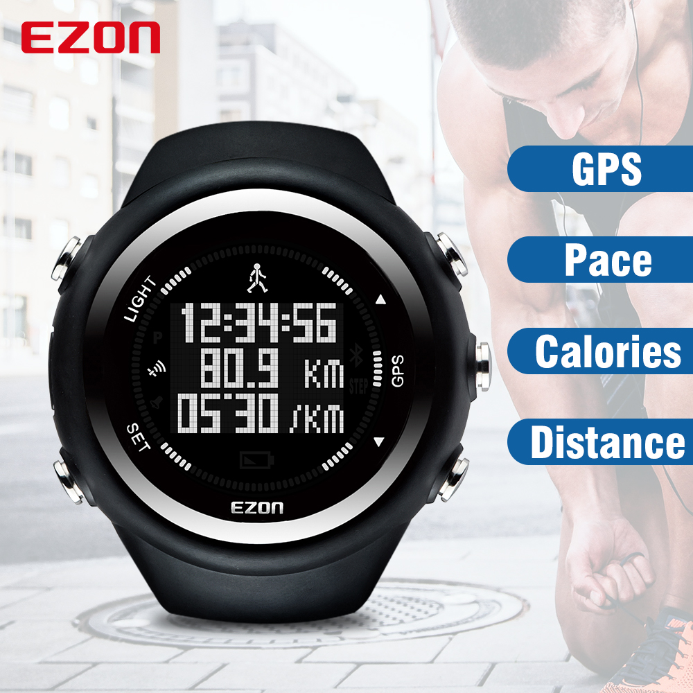EZON T031 GPS Timing Digital Watch Outdoor Sport Multifunktionsklockor Fitness Avstånd Hastighetskalorier Counter Waterproof Watch