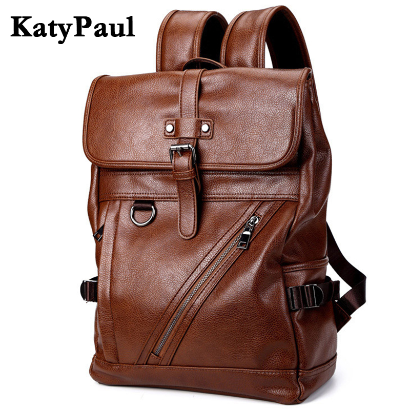 2017 Fashion Leather Backpacks Men's Shoulder Bags Large Capacity Business Casual School Boys Vintage Men Travel bag Mochila faux leather fashion women backpacks vintage casual daypacks shoulder bags travel bag free shipping