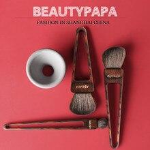Beautypapa Juego de brochas de maquillaje, diseño de triángulo, pelo de cabra, colorete, sombra de ojos, profesional, hecho a mano