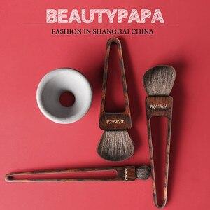 Image 1 - Beautypapa Juego de brochas de maquillaje, diseño de triángulo, pelo de cabra, colorete, sombra de ojos, profesional, hecho a mano