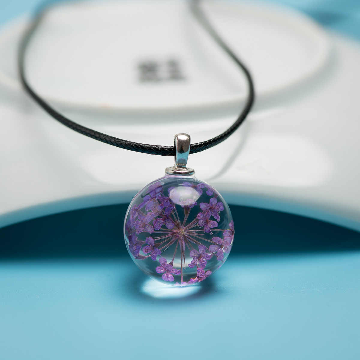 Natural Dried Flower Glass Ball Pendant long Rope Necklace with Ceramic Beads Drop shipping #FY311