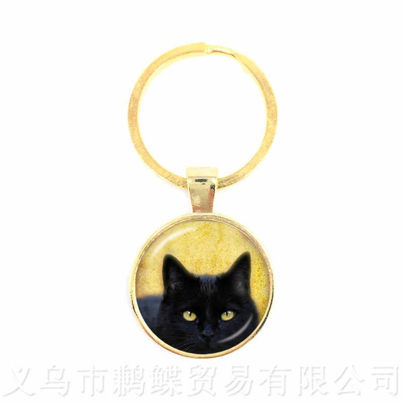 fc75410cb2 ... Cat And Moon Pattern Keychains 25mm Round Glass Dome Animal Picture  Series Keyring Cat Lover Creative ...