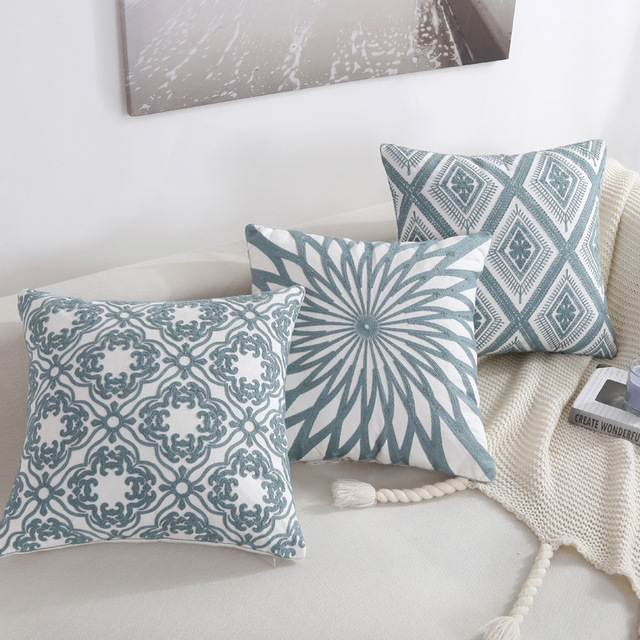 US $8.0 25% OFF|Aliexpress.com : Buy Nordic Style Blue Throw Pillows  Geometric Embroidered Striped Home Decorative Pillow Sofa Romantic Newyear  Gifts ...