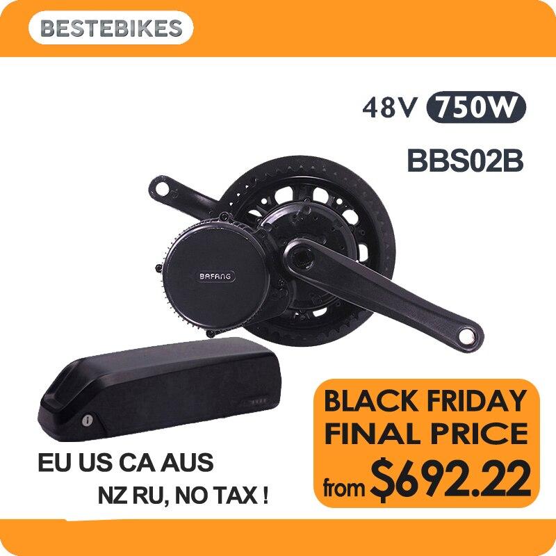 Bafang moteur BBS02B 48 v 750 w mi moteur d'entraînement 48v13ah LG2600 batterie au lithium kit UE US CA AUS RUSSE NZ aucun impôt