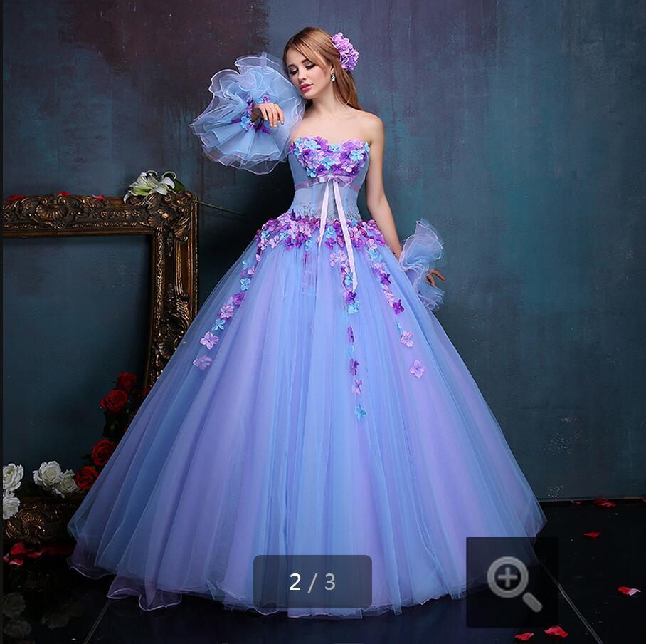 2016 elegant ball gown sky blue off shoulder flower for Sky blue wedding guest dresses