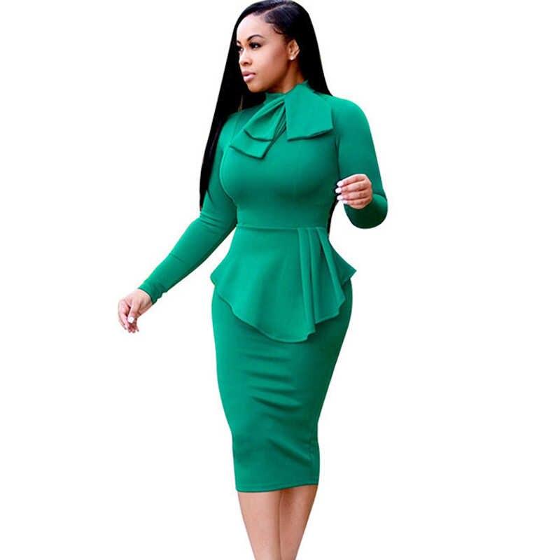 a86b859e28e 2017 осень-зима Для женщин с длинным рукавом Bodycon Офисные женские туфли  Бизнес работа платье