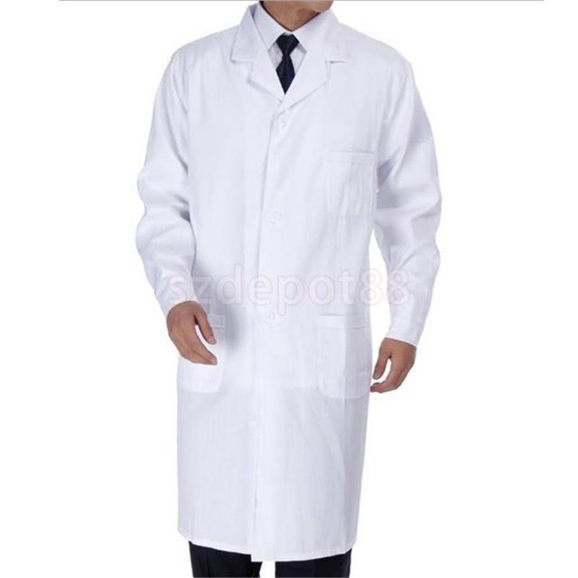 e4775903026 Men Scrubs White Lab Coat Medical Nurse Doctor Uniform Lapel Collar Long  Sleeve