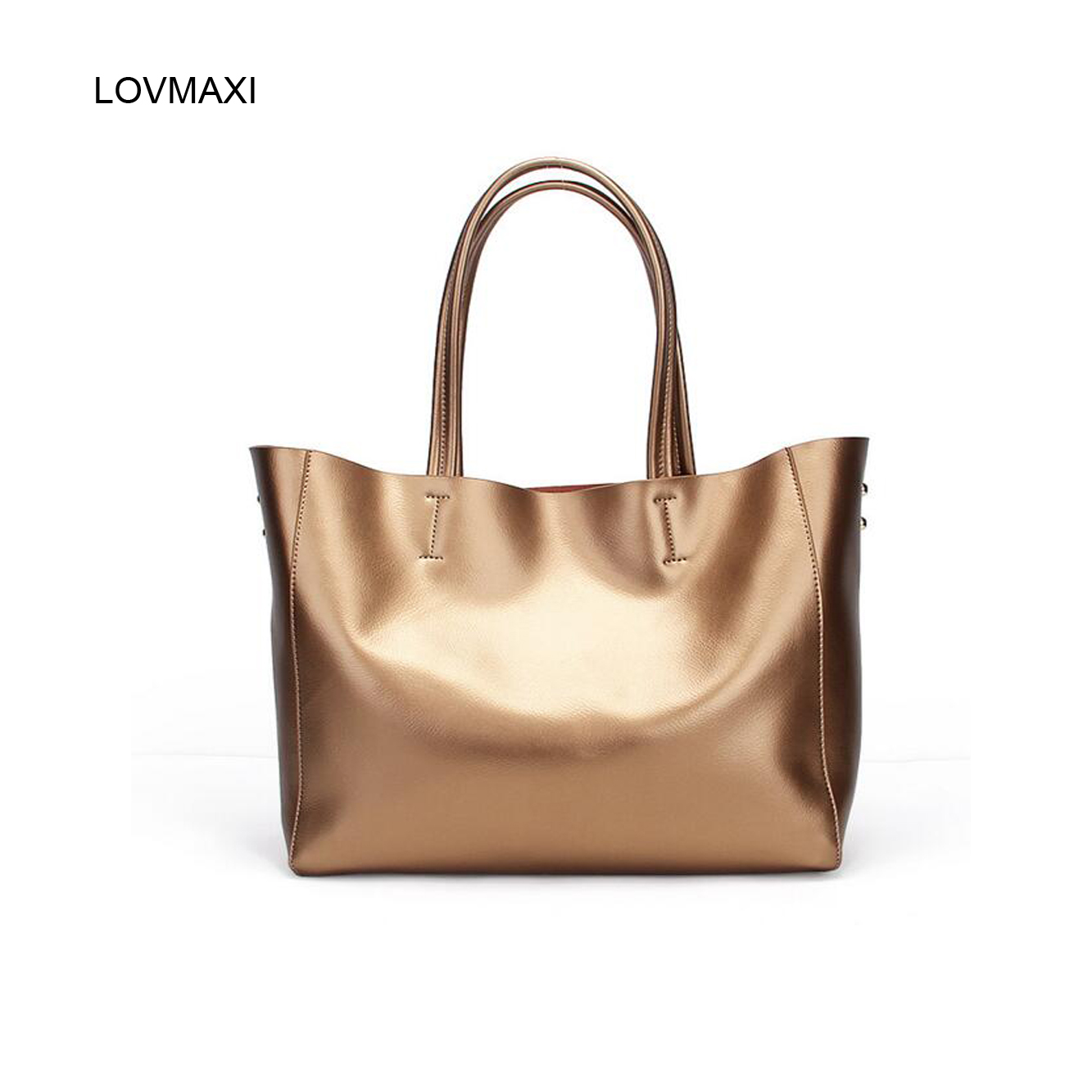 2017 Fashion Natural Leather Tote Bags Causal Handbags Luxury Handbags Women Bags Designer Bronze Metal Color