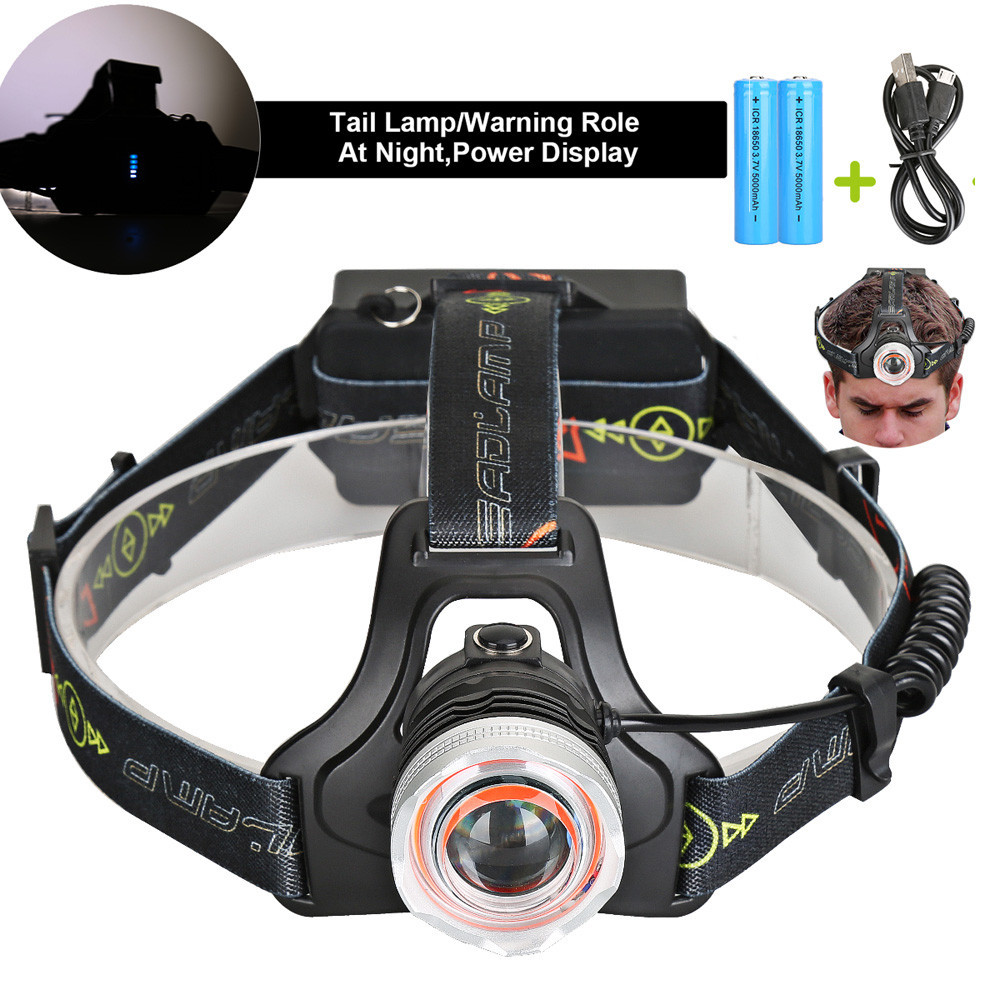 8000LM USB T6 Infrared Sensor LED Headlamp Fishing Hunting Headlight 18650 Charger Bike Led Waterproof Light Fishing Tool M20 high quality 2 mode power 5w led headlight 48000lx outdoor fishing headlamp rechargeable hunting cap light