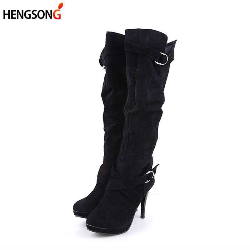 HENGSONG Autumn Winter Women Boots Stretch Slim Thigh High Boot 2018 New Fashion Mid-Calf Boot Thin High Heels Shoes Woman Botas dabuwawa 2016 slim fashion gray jeans women autumn