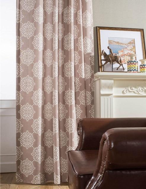 US $24.5 |Brown Vintage vorhänge Tülle oben Vorhänge wohnzimmer Polyester  baumwolle Tuch Vorhang Einfache Gedruckt Vorhang für wohnzimmer B16114 ...