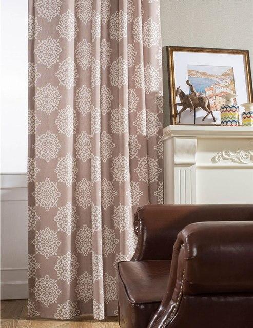 bruin vintage gordijnen grommet top gordijnen woonkamer polyester katoenen doek gordijn eenvoudige gedrukt gordijn voor living