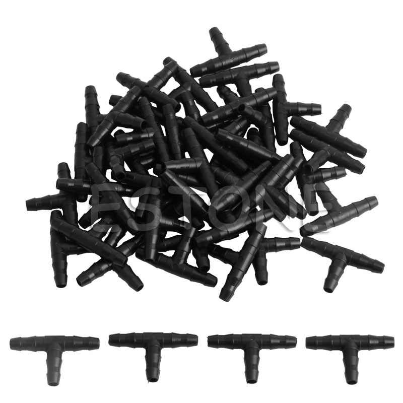 50pcs Beregening 4/7mm Tee Pijp Barb Slangfitting Joiner Drip System voor 4mm/ 7mm Buis