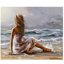 RIHE Beach Girl DIY Painting By Numbers Couples Paint Kits Drawing With Brushes Wall Art Suitable For All Skill Levels 40x50cm