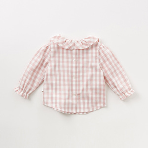 Image 2 - DB11649 1 dave bella autumn baby girls cute plaid shirts infant toddler 100% cotton tops children high quality clothes