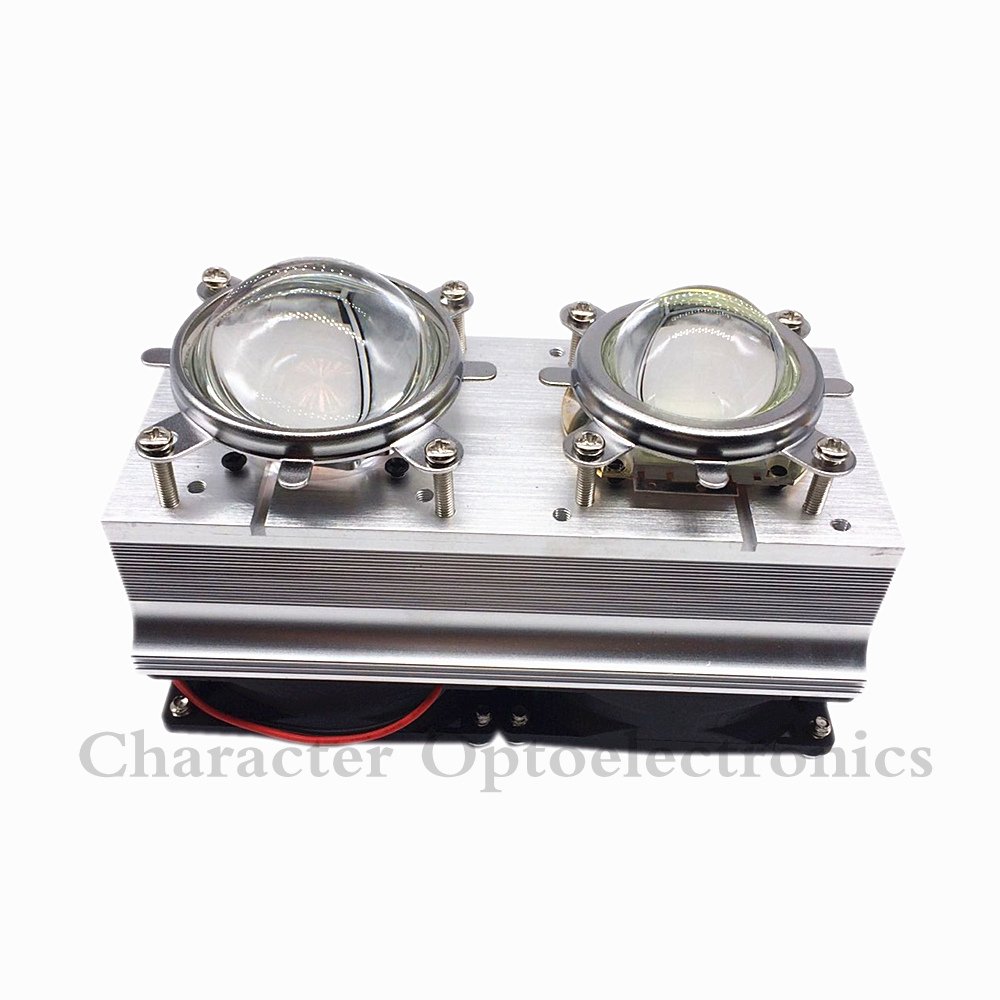 100W 200W High Power LED Heatsink cooling with fans 44mm/57mm Lens +Reflector Bracket