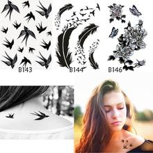 3PCS Fake Tattoo Sticker For Body Waterproof Temporary Tattoos Sticker Bird Feathers Rose Body Art Water Transfer Tattoo Time