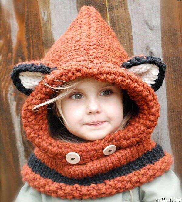 Korean Winter Warm Neck Wrap Fox Scarf Caps Cute Autumn Children Wool Knitted Hats Baby Girls Shawls Hooded Cowl Beanie Caps