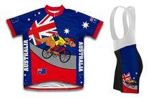 2016 Australia Canguro Jinete Ciclismo Jersey y del babero Kits Strap ciclismo maillot/ciclismo ropa Jersey de Bicicleta de Carretera