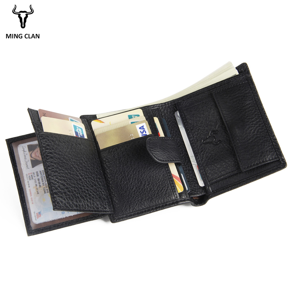 Mingclan Luxury Genuine Leather Wallet Fashion Short Bifold Rfid Men Card Holder Casual Soild Coin Pocket Purses Male Wallets canon imagerunner 2204 0915c001