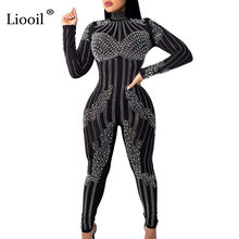 Liooil Diamond Beading See Through Mesh Sexy Jumpsuits For Women 2019 O Neck Black White Party Rompers Womens Jumpsuit Overalls(China)