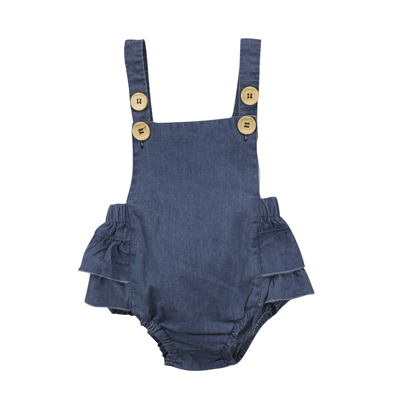 Hot Sale Denim Sleeless Romper Newborn Baby Girl Ruffle Jeans Romper 2018 Summer Fashion Jumpsuit PP Pants Sunsuit Baby Clothing luxury good quality new fashion women zipper jumpsuit slim fit skinny jeans rompers pocket denim jumpsuits size sexy girl casual